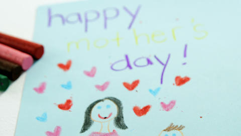 Happy mothers day greeting card with colored crayons Live Action