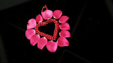Decoration heart shape against black background Footage