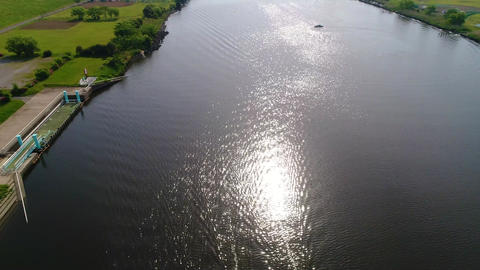 River and boat seen from the sky (30fps) Footage