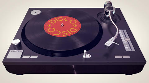 Vinyl player plays Disco disc. Retro concept Animation