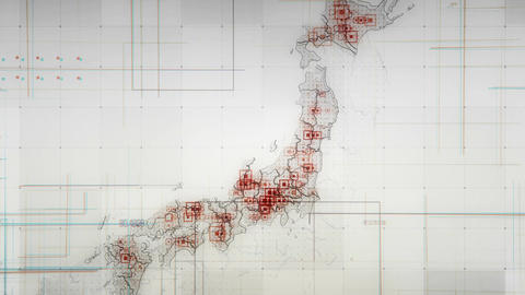 Japan Map Lines WHITE 4K Animation