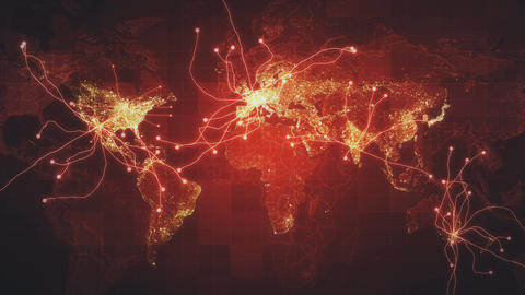 Red Global Map Network Rollback 4K CG動画素材