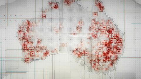 Australia Map Lines WHITE 4K Animation
