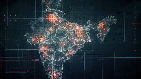 India Map Lines BLACK 4K Animation