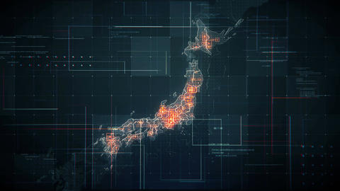 Japan Map Lines BLACK 4K Animation