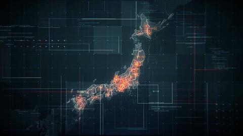 Japan Map Lines BLACK 4K Videos animados