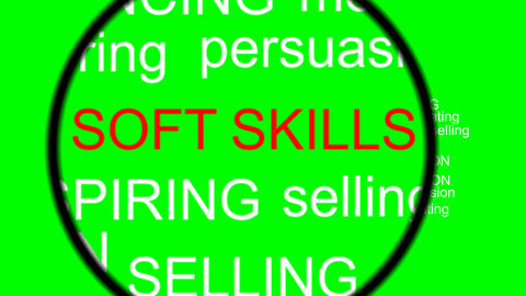 Soft skills terms under magnifier, video on green screen with zoom effect, magni Animation