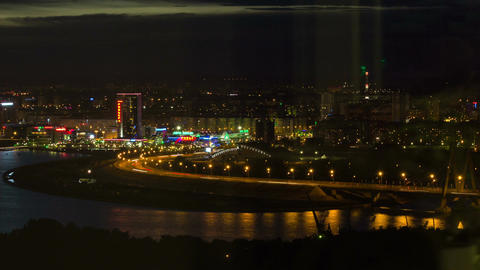 Timelapse Panoramic View Beautiful Night City on Riverbank Footage