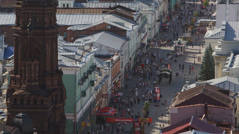 Upper View Street with Walking People and Historical Buildings Live Action