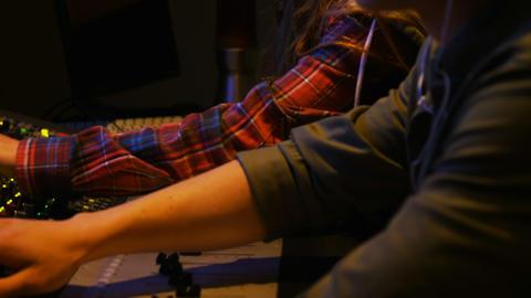 Audio engineers using sound mixer Footage