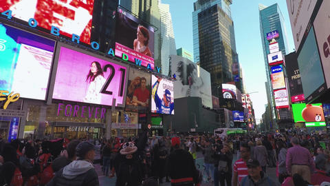New York, USA Crowd by advertising billboards at Times Square Footage