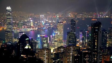 Night Hong Kong and Light Show Footage