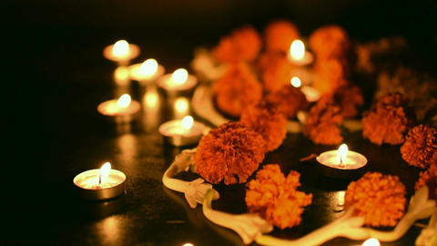 Deepabali - colourful candles are lit in darkness Footage