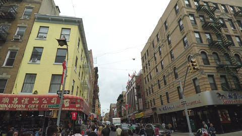 New York, USA Manhattan Chinatown buildings in New York City Footage