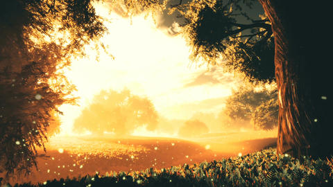 Amazing Natural Wonderland in the Sunset Sunrise with Fireflies 5 Animation