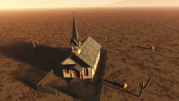 Old Wooden Christian Chapel in a Desert Aerial 1