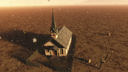 Old Wooden Christian Chapel in a Desert with Fireflies Aerial 1