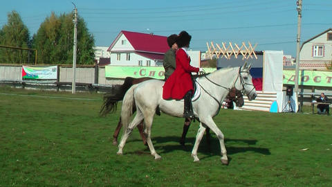 Show Of Cossacks On Horses. Tyumen. Russia stock footage