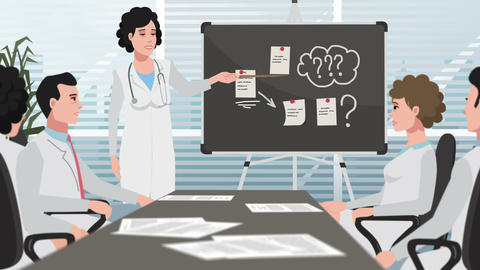 Cartoon Clinic / Female doctor presenting at the meeting Animation
