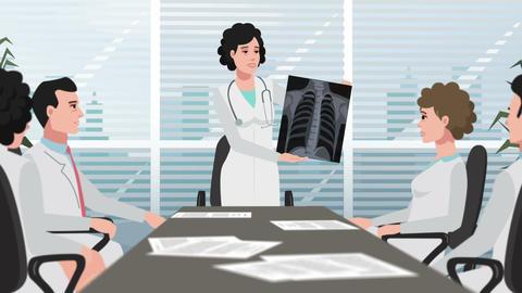 Cartoon Clinic / Woman shows chest X-ray Animation