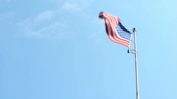 American (USA - United States of America) flag - blue sky - sunny Footage