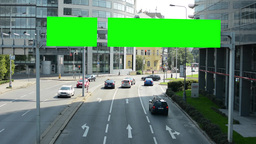 traffic signs - green screen - passing cars - modern buildings with trees Footage