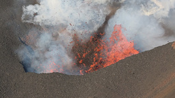Eruption Active Volcano Kamchatka - Effusion From Crater: Lava, Gas, Steam, Ash stock footage