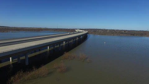 Aerial View Of Bridge Above Hickory Creek On Lake Lewisville stock footage