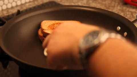 Grilled Cheese Sandwich flipped Stock Video Footage
