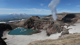 Kamchatka Landscape: view of active Gorely Volcano fumarolic activity of volcano Footage