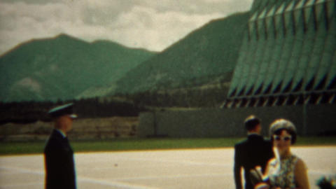 1966: Cadet giving parents tour of new high tech military school Footage