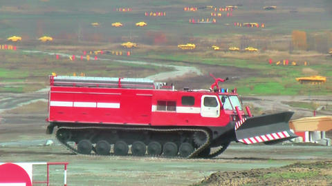 Fire fighting vehicle MPT-521 moves Footage