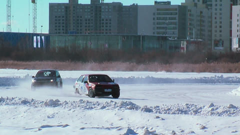Sports Ice Competitions On Cars stock footage