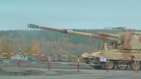 Two 152 mm howitzers 2S19 Msta-S. Russia Footage