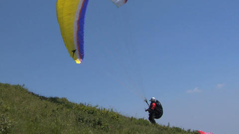Paragliding taking off Footage