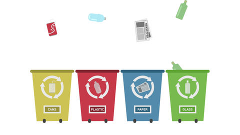 Recycle Concept - Recycle Bins Set With Different Colors stock footage