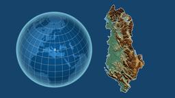 Albania and Globe. Relief Animation