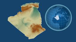 Algeria and Globe. Relief Animation
