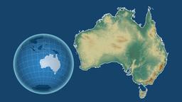Australia and Globe. Relief Animation