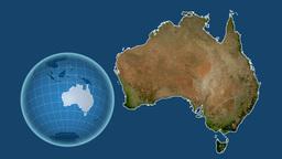 Australia and Globe. Satellite Animation
