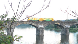 bridge for train over the river - city with buildings - nature (trees and bushes Footage