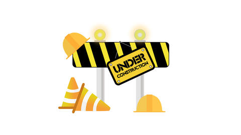Under Construction set on white background Animation