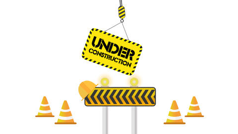 Under Construction set on white background with space for your object Animation