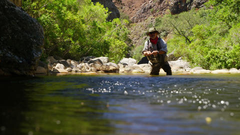 Fisherman fly fishing in river Footage
