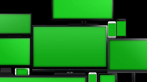 Many different types of screens with green screen Animation