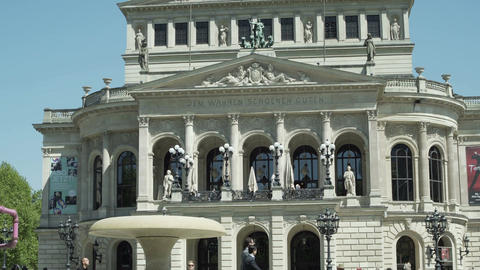 Alte Oper or Old Opera House in Frankfurt Germany Tilt Down Footage