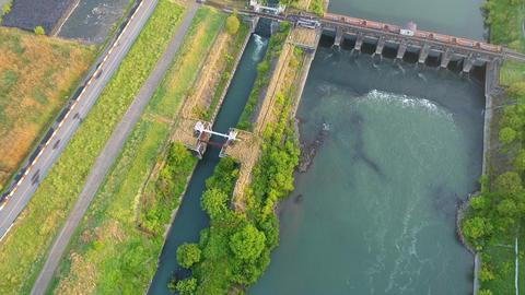 Fresh morning river landscape (30fps) Footage