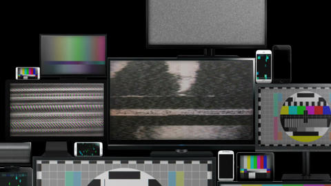 Many different types of screens with no signal Animation