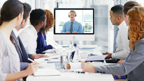 Business people having a conference call in meeting Footage