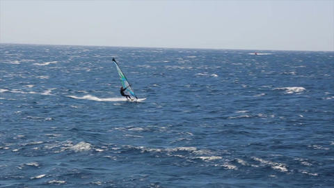 Windsurfer sailing fast in the Red Sea